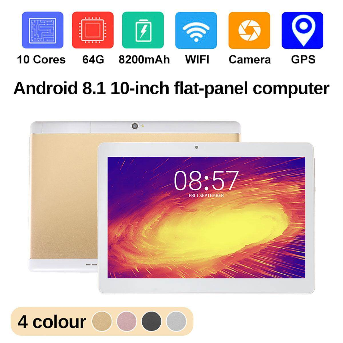 【Free Shipping】NEW  10 Tablet PC Android 8.1 Octa 10Core 64GB 2Ghz 10 Inch HD WIFI 2SIM 4G Phablet Malaysia