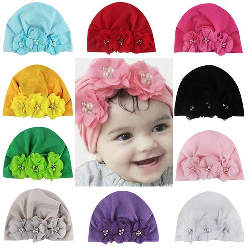 f572666a5 Soft Baby Hats Fashion Pearl Floral Design Girls Boys Caps Infant Hat  Turban Elastic Cap 1-3T