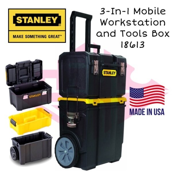 EEHIONG1977 Stanley STST18613 18613 Detachable Tool Box Mobile Work Center 3 in 1 Trolley Work Bench Bag Troli Beg Kerja Kotak Alatan Boleh Gerak Troli Beg Alatan 可拆卸工具箱 移动工作中心 手拉工作包