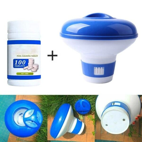 Pool Cleaner Swimming Pool Chlorine Dispenser with 100 pcs Clean Tablets for Spa Pool