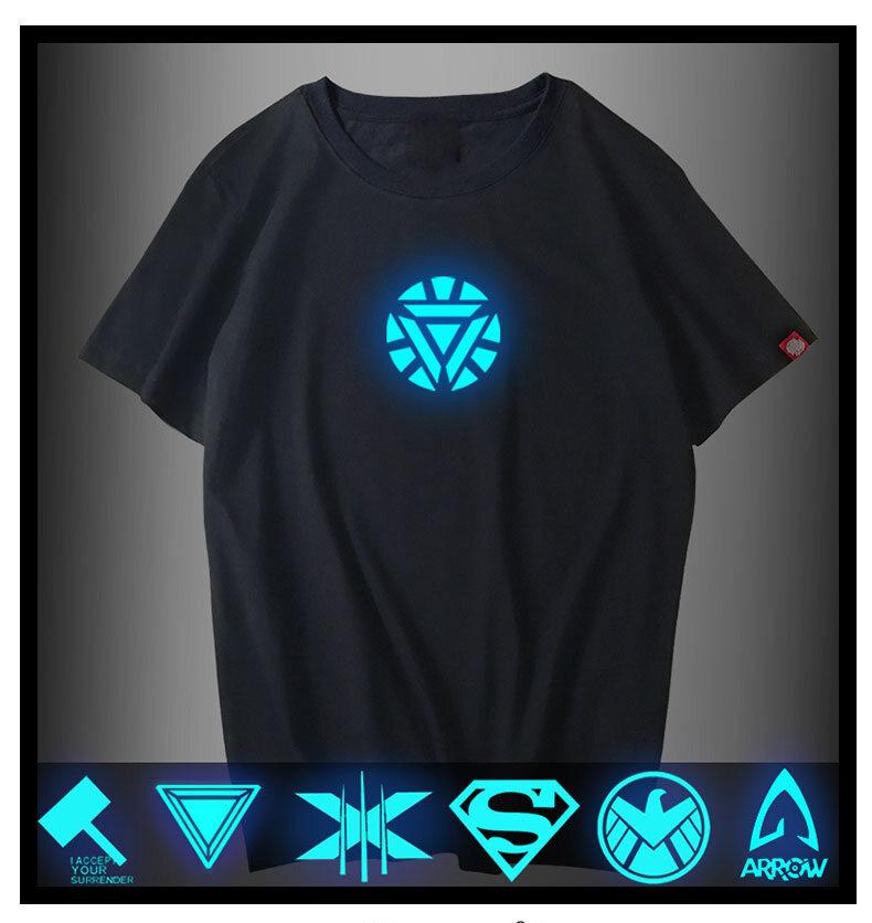 Marvel Comics Short Sleeve Avengers Man Tshirt 3D Print Luminous Iron Man Superhero T Shirt Slim Fit Men Costume