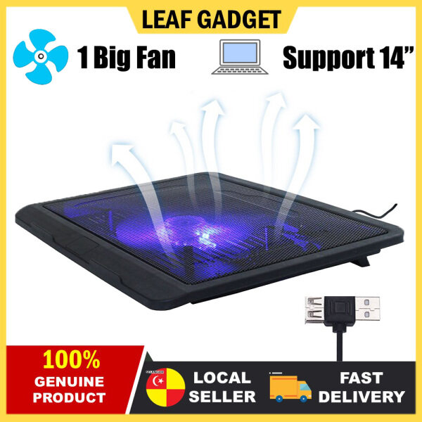 NOTEBOOK COOLING PAD with One Huge Fan 2 USB Ports Low Noise Operation for 14 Inch Below Notebook Laptop for Work Study Gaming N-19 Malaysia