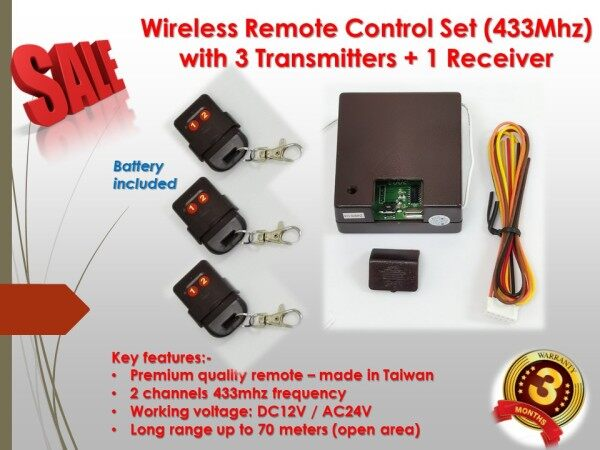 Auto gate Door Wireless Remote Control Set (433Mhz) with 3 Transmitters + 1 Receiver