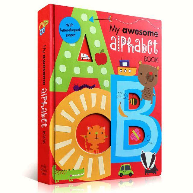 My Awesome Alphabet Book Abc Original English Cardboard Books Baby Kids Children Learning Educational Word Book Letter Shaped By Twins Girl.