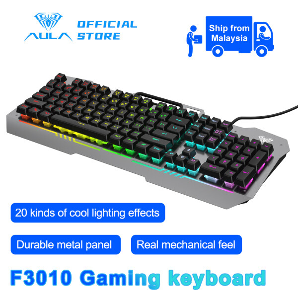 AULA F3010 Gaming Wired Keyboard Mobile Phone Placement and 26-key Anti-ghosting 3 Free Adjustment Modes for Desktop and Laptop, Software Control Malaysia