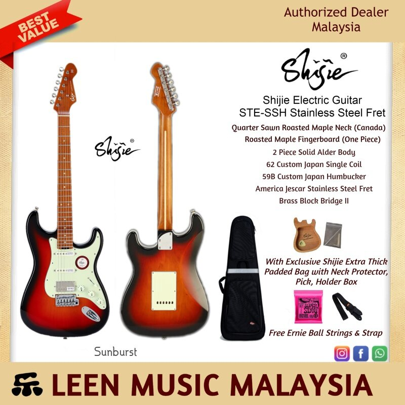 Shijie STE-SSH Stainless Steel Fret (Sunburst) Electric Guitar - High End specification and quality with extra thick padded bag and free gift - Leen Music Malaysia