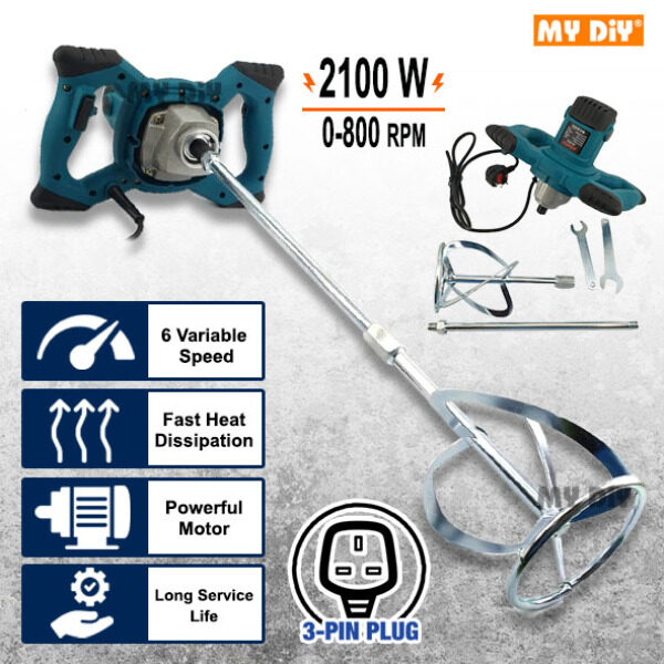 MYDIYHOMEDEPOT - Allefix Electric Paint Mixer Blender Power Tool Paint Mixer Cement Mixer 2100w With 6 Speed Control ALLEFIX 2100W Handheld Electric Cement Concrete Paint Mixer Mortar Stirrer Grout Mixing Tools