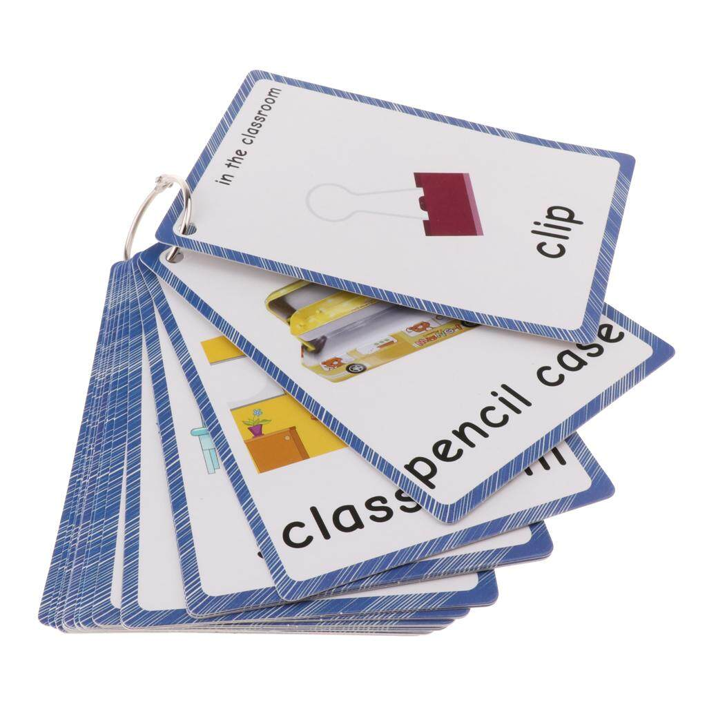 Perfk 25Pcs Kids Early Educational Sight/Picture Word Flashcards for Classroom
