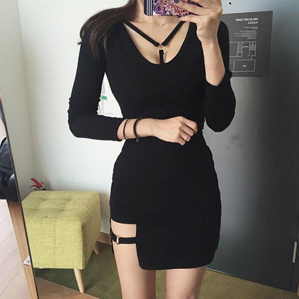 [Dingye-Home]Korean Style Black Hip Skirts Irregular Micro Mini Skirt, New Ring Design Tight and Thin Package Hip Skirt, Womens High Waist Drawstring Ruffle Flared Mini Skirt