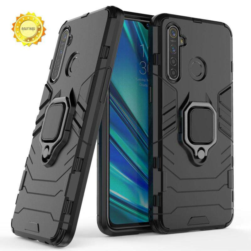Giá XICCI For OPPO Realme 5 Realme 5 Pro Case, Litchi TPU and Hard PC Luxury Armor Shockproof Metal Ring Holder Cover Phone Casing