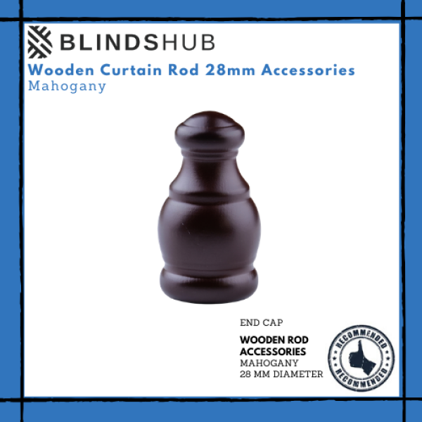 BLINDSHUB 1 pc Wooden Curtain Rod Accessories Mahogany 28mm End Caps
