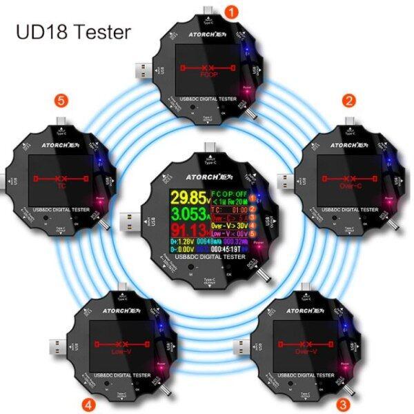 RONGYUE UD18 Máy Kiểm Tra USB 3.0 18 Trong 1 Vôn Kế Kỹ Thuật Số Dc Ứng Dụng Vôn Kế Ampe Kế Máy Dò Điện Áp Vôn Kế Điện Bác Sĩ