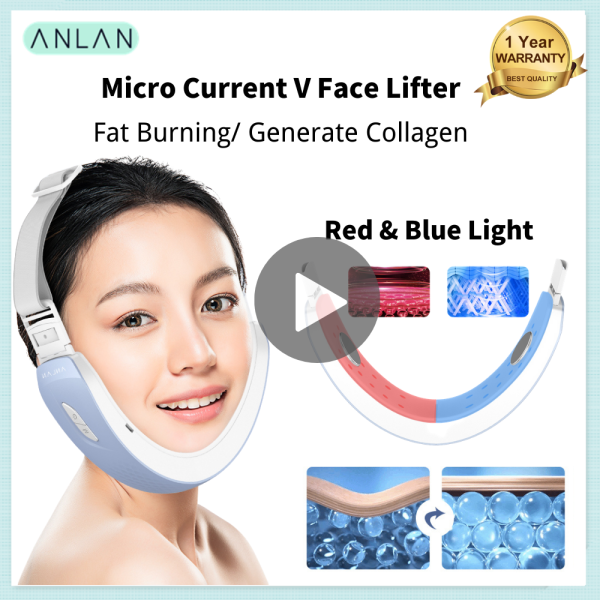 Buy ANLAN Face Slimming V Shape Massager Micro Current Face Shaper Skin Firming Lifting Device Face Fat Burner Red & Blue Light Whiten Skin Anti Aging Singapore