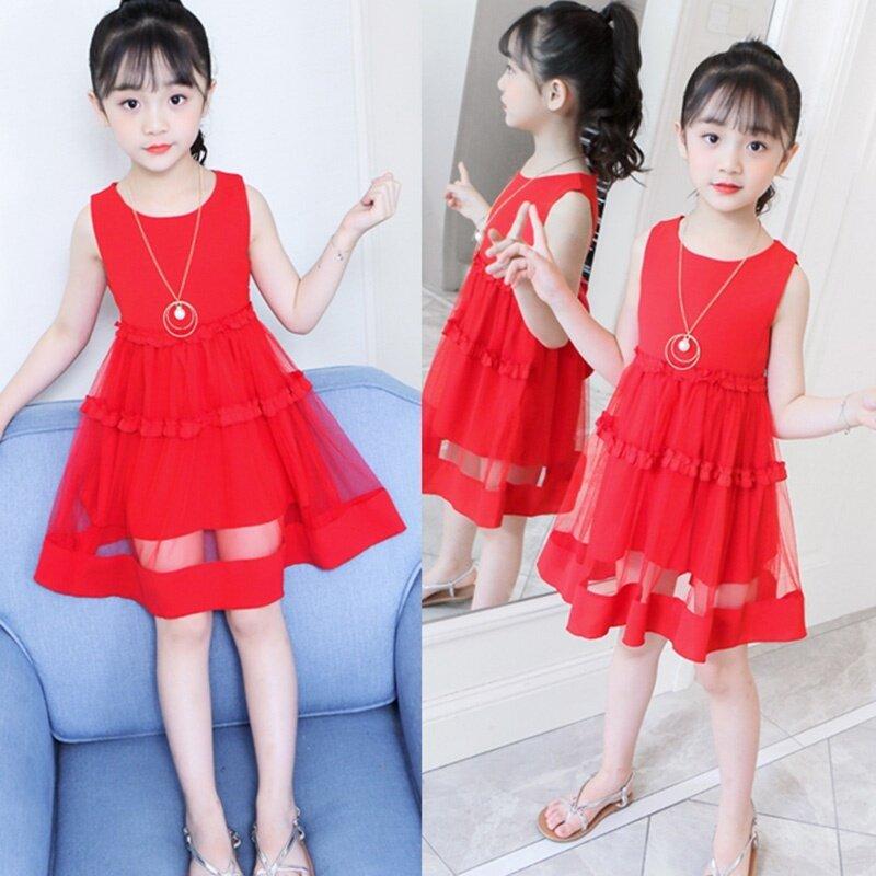 Giá bán 1 Chiếc Váy Không Tay Cho Bé Gái Màu Sắc Dễ Thương Kiểu Xếp Nếp Lưới Công Chúa Cho Trẻ Em 3-13 Tuổi Màu Đỏ Vàng