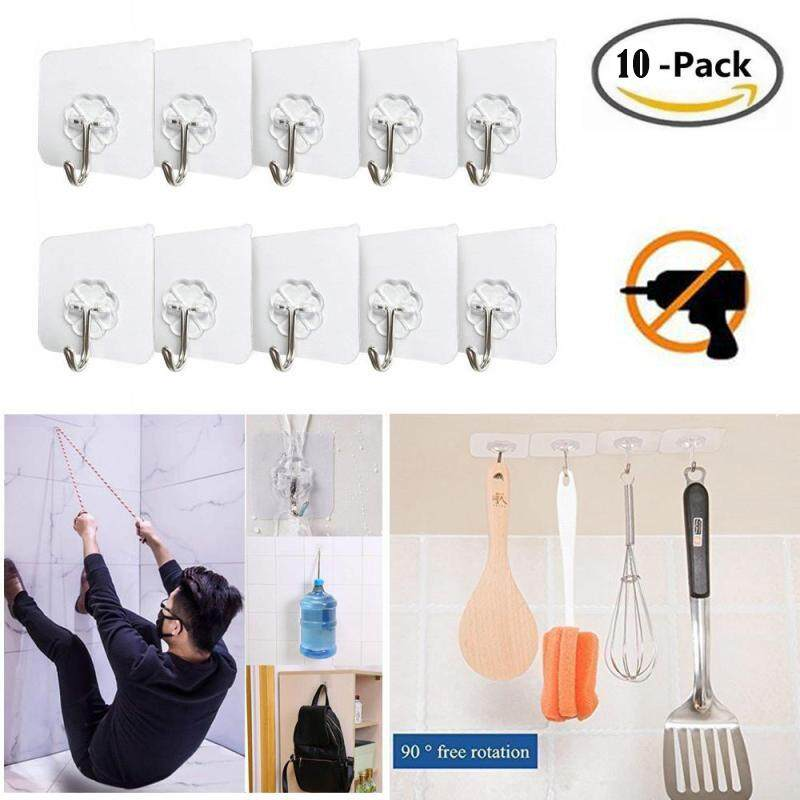Best Reusable Adhesive Wall Hooks - 10 Packs 10Kg/Heavy Duty Wall Hanger Stickers with Stainless Hooks - Waterproof OilProof No Damage Wall Ceiling Decoration Hanging Coats Paintings Bags for Bathroom Kitchen Living Room