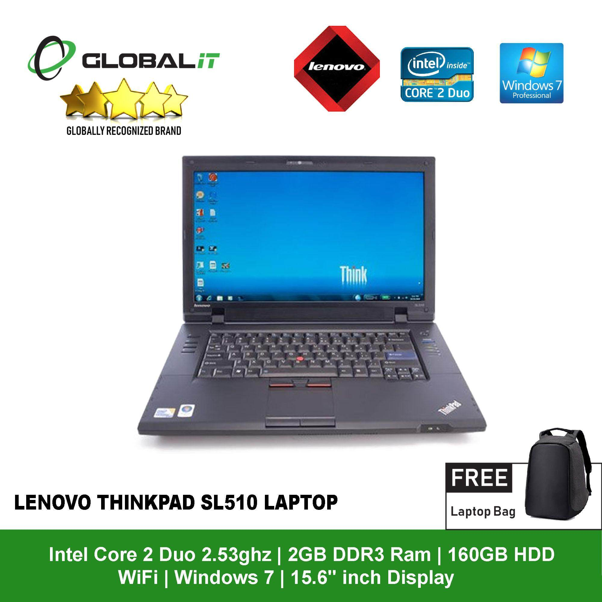 (Refurbished Notebook) Lenovo Thinkpad SL510 Laptop / 15.6 inch LCD / Intel Core 2 Duo / 2GB DDR3 Ram / 160GB HDD / WiFi / Windows 7 Pro Malaysia