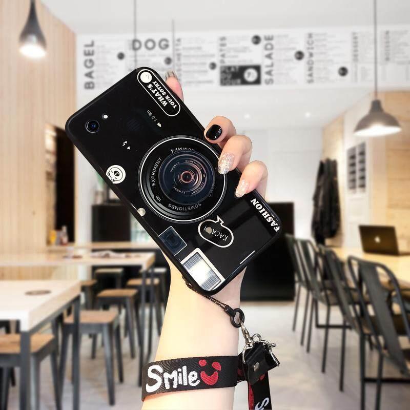 Hontinga untuk Vivo Y83 Casing (Tidak Ada Sidik Jari Versi), 3D Kotak Lensa Kamera Kaca Antigores Belakang Pelindung Ponsel Casing Kover (Lensa Pop Pemegang + Acak Tali)