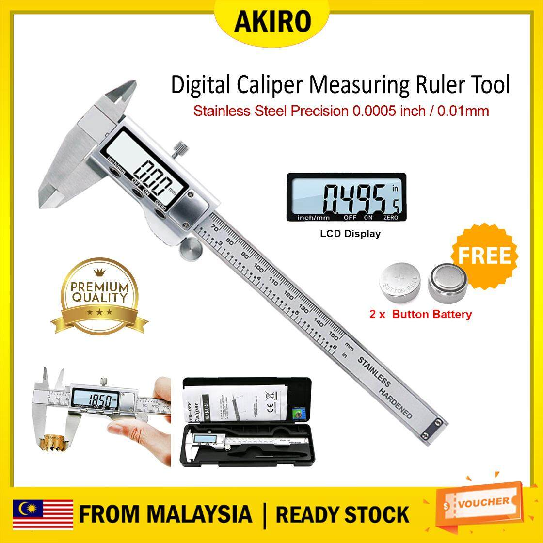 AKIRO HOME Malaysia Stainless Steel Electronic Digital Caliper Measuring Ruler Tool Inch MM LED Screen Precision 0.0005 /0.01mm Measuring Inside Outside Depth Accuracy