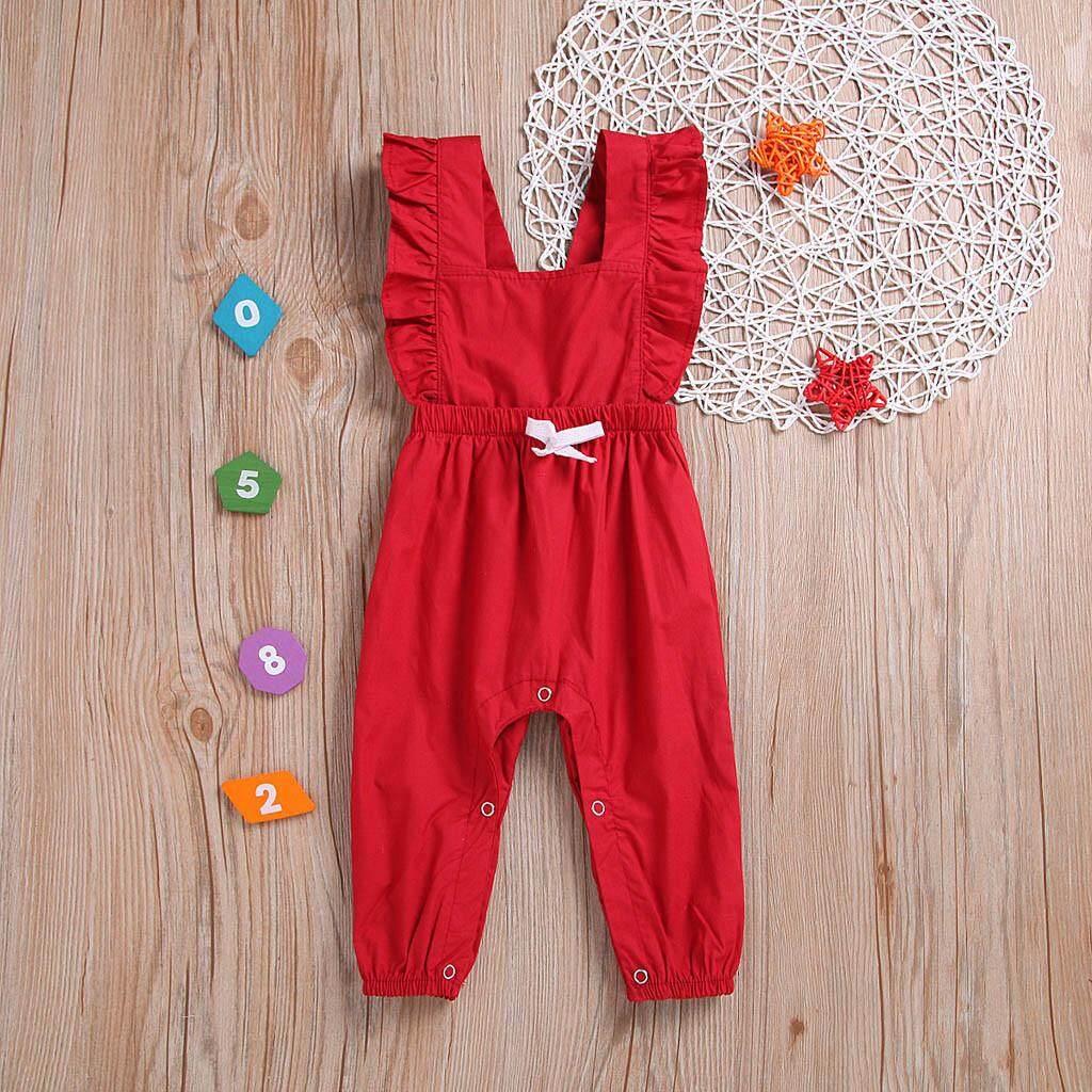 3e46e3b3b091 LONSANT Summer Infant Baby Boys&Girls Sleeveless Ruffles Solid Print Romper  Jumpsuit
