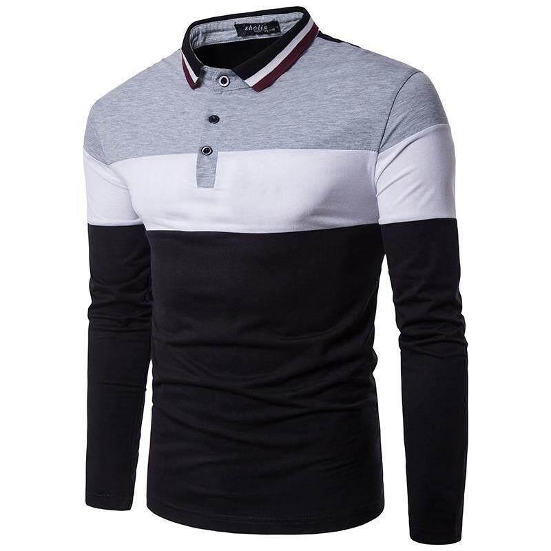 ac742e7e0dd Men s Polo Shirt Casual Long-sleeved Fashion Color stitching Neckline Polo  Shirt Men Clothing Tops
