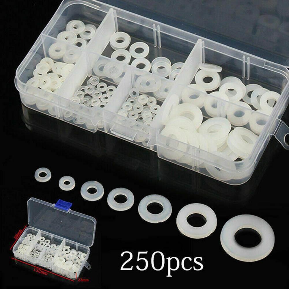 250pcs Corrosion Resistance Insulation M2-M8 Nylon Sealed Flat Round Gaskets Washer Set