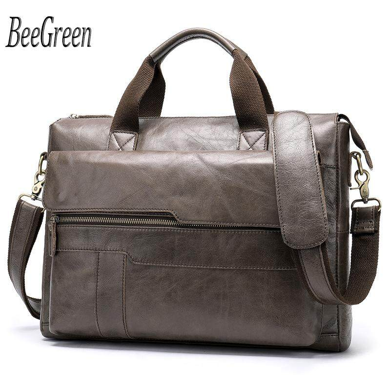 Business Men Briefcase Cowhide Leather Laptop Briefcase Bag Male Shoulder Bag Quality Retro Mens Bag