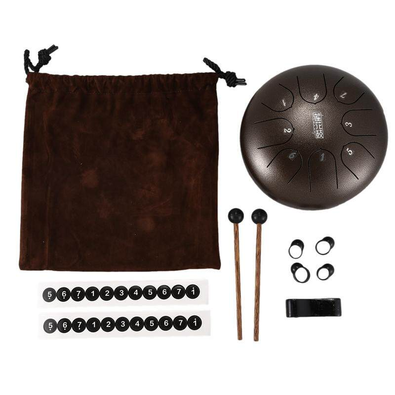 Steel Tongue Drum Mini 8-Tone G Tuning Hand Drum Drum Back Drum with Drumsticks, Rucksack Percussion