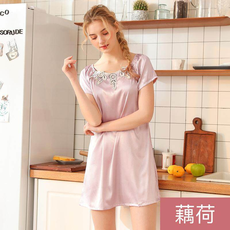 Women Silk Pajamas Comfortable Sleepwear Nightgown Women Lounge Cute  Nightdress Flower Sleepwear Short Sleeve Casual Nightwear b5e5102a1