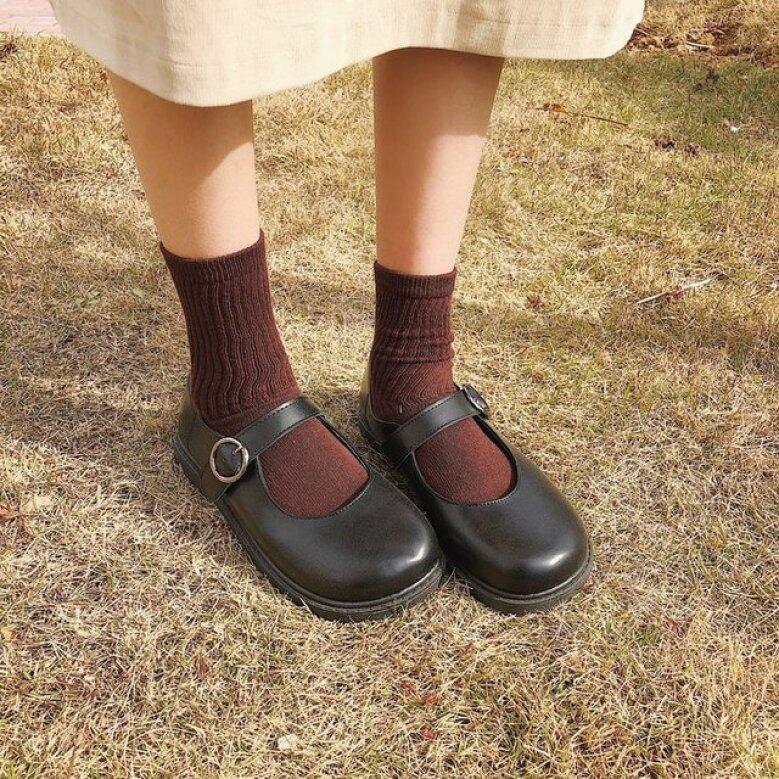 Giày Nữ Cổ To JT Retro, Giày Da Nhỏ Kiểu Anh Cho Sinh Viên【Chất lượng cao】 giá rẻ