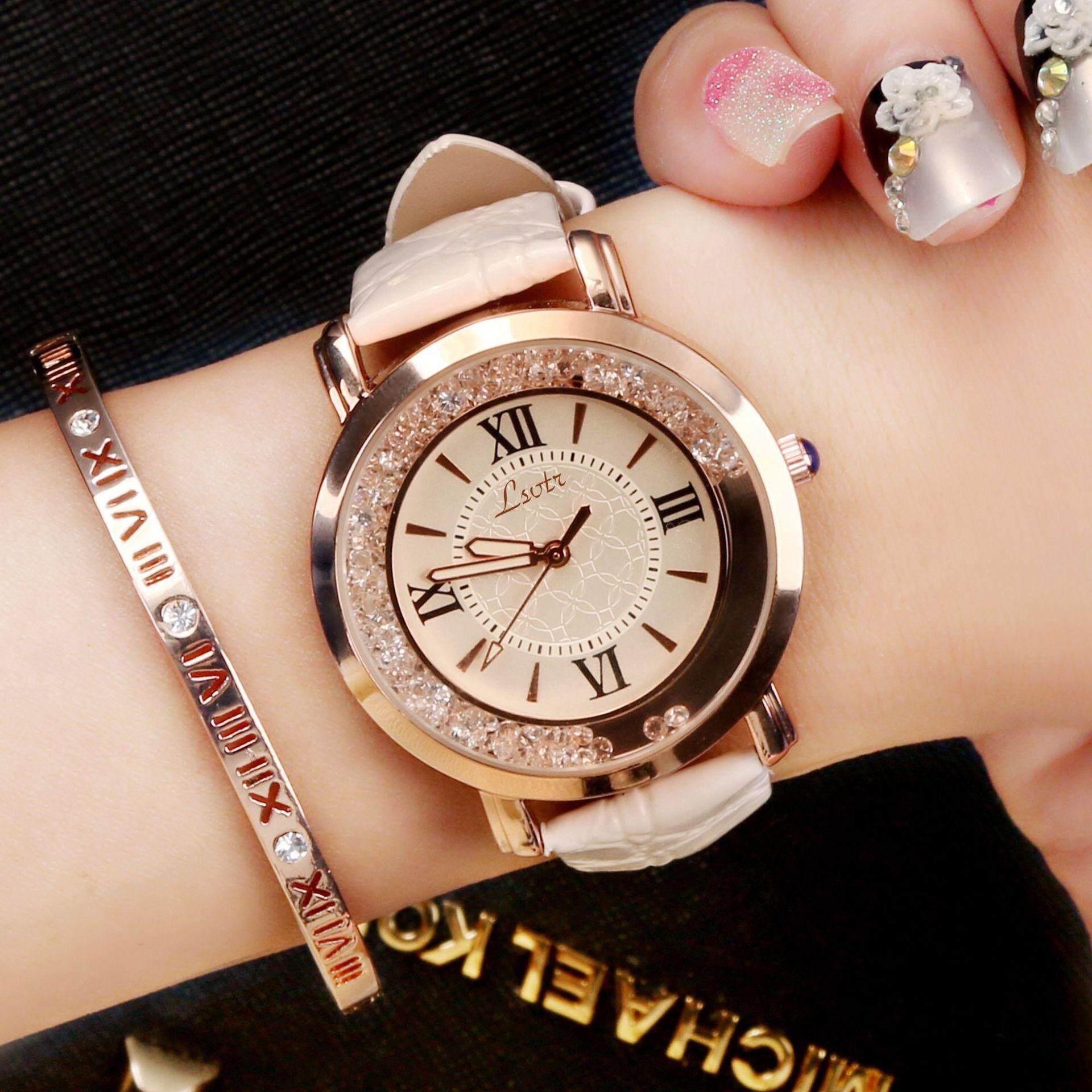 Jam tangan wanita, Berlian imitasi kuarsa Fashion mewah gaya Korea
