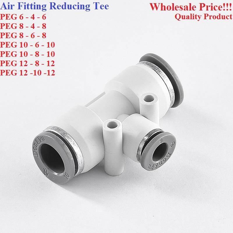 Jrotro Reducing Tee Pneumatic Air Push In Quick Fitting(PEG 6-4-6 /8-4-8/ 8-6-8/ 10-6-10/ 10-8-10/ 12-8-12/ 12-10-12)