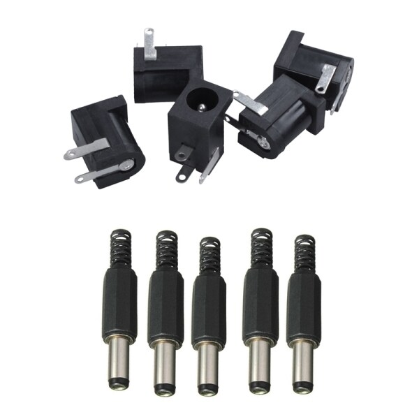 10PCS Jack DC Power Plug Socket Jack Adapter Adaptor Connector 5.5mm x 2.5mm Male& DC 5.5mmx2.1mm Female