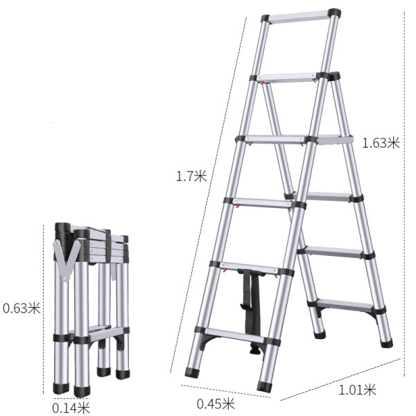 New Listing Household multifunctional folding ladder aluminum alloy telescopic ladder thickened one-click contraction herringbone ladder
