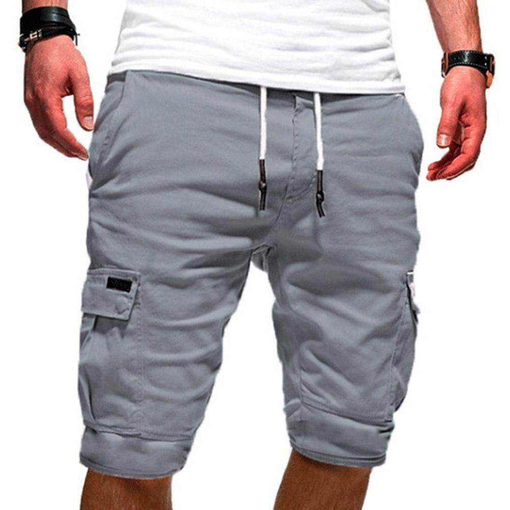 68b0b87a61 Men Casual Shorts Sports Drawstring Cargo Pants Military Combat Workout Gym  Trousers
