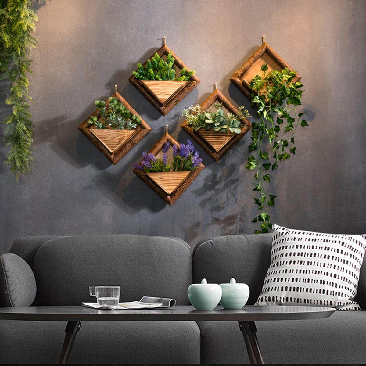 【Free Shipping + Flash Deal】1x Wooden Wall Mounted Hanging Rack Storage Shelf DIY Plant Flower Decoration