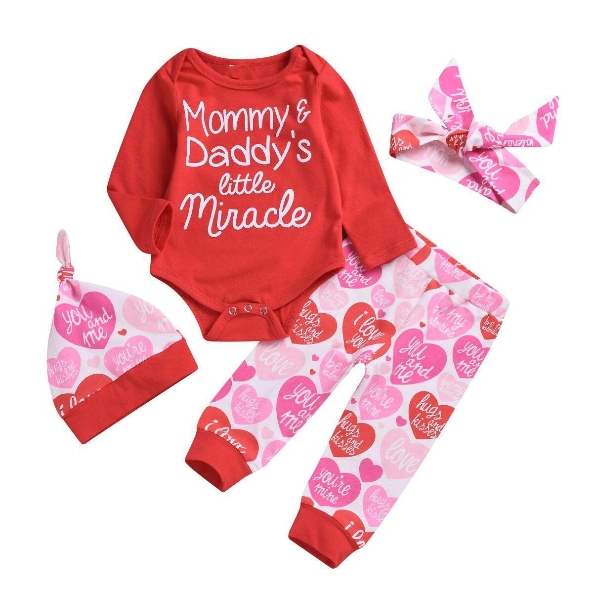 38552253cf1ef 4 pcs Baby Toddler Outfit Clothes Set Newborn Letter Print Geometry Hat Bow  Headband round neck long sleeve Bodysuit
