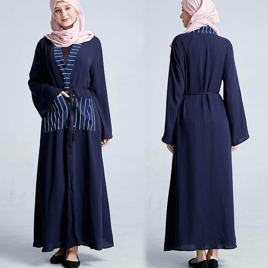 8d4344f6b02 Abaya Dubai Muslim Women Open Front Cardigan Vintage Islamic Long Maxi Dress  New