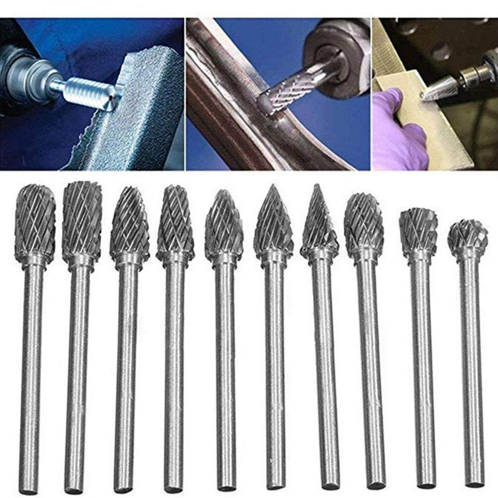 Tavey 10pcs 1/8 (3mm) Shank Tungsten Steel Solid Carbide Rotary Files Diamond Cutting Burrs Dremel Bits for Wood Metal Cutting Engraving Grinding