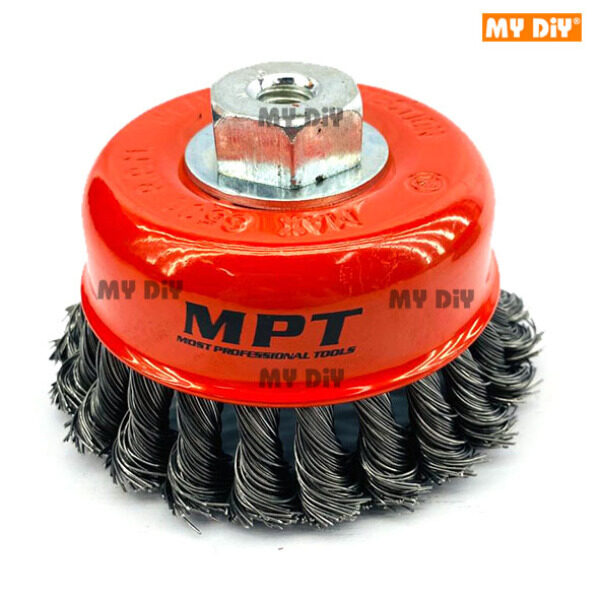 "MYDIYHOMEDEPOT - High Quality MPT 4"" 100mm Twisted Cup Wire Brush M10 x 1.5"