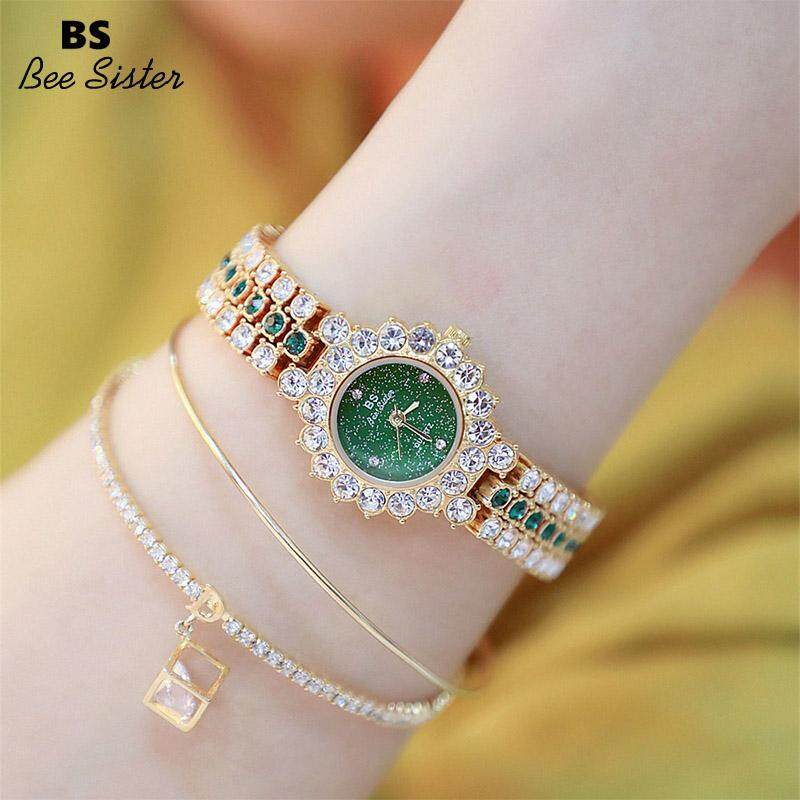 BS Bee Sister New Arrival Fashion Womens Watches Elegant Stainless Steel Alloy Strap Waterproof Quartz Round Shape Watches Diamond Austria Imported Rhinestone Luxury Ladies Bracelet Wristwatches FA1580 Malaysia