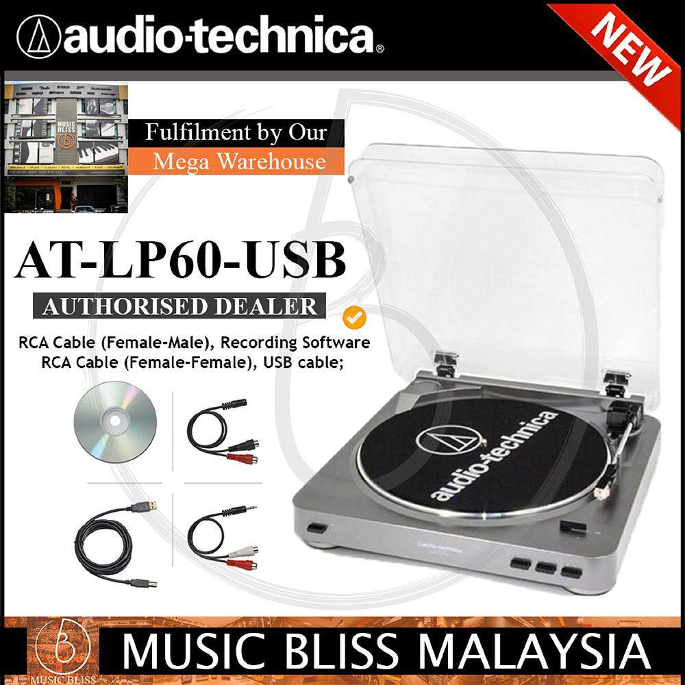 Audio Technica At-Lp60-Usb Belt-Drive Professional Turntable Gun Metal (atlp60usb) By Music Bliss Malaysia.