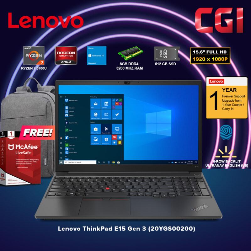 Lenovo 15.6 Laptop ThinkPad E15 Gen 3 AMD Ryzen 7 5700U Processor AMD Radeon Graphics Win10Home 8GB RAM 512GB SSD (20YGS00200) Malaysia