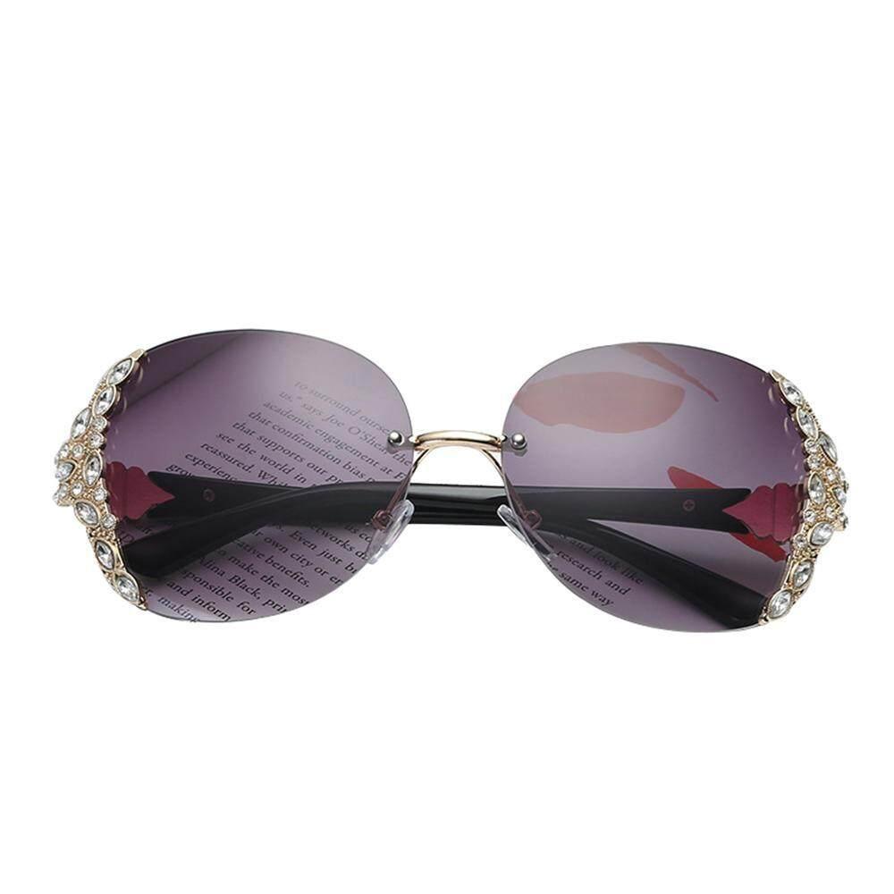 Outflety Kacamata Hitam Berlian, Kristal Retro Terlalu Besar Kacamata Hitam Tanpa Bingkai Ringan Kacamata Bingkai Plastik Hd Cermin Untuk Wanita By Outflety.