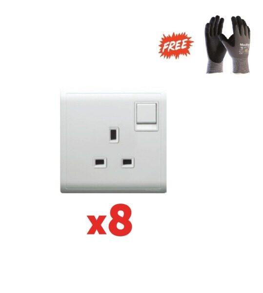 1 box (8pcs) - Schneider Pieno 13A 250V Switched Socket, White - (Free ATG PPE safety glove L Size)