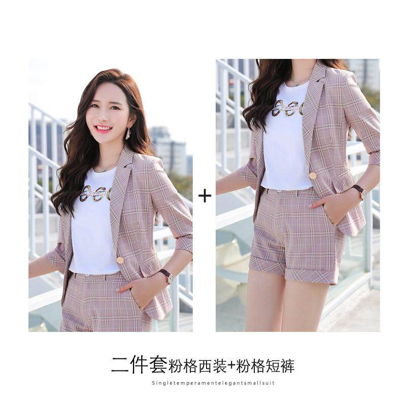 977a1f7319c1 Spring/summer 2019 shorts British style two-piece small plaid suit suit  women's new