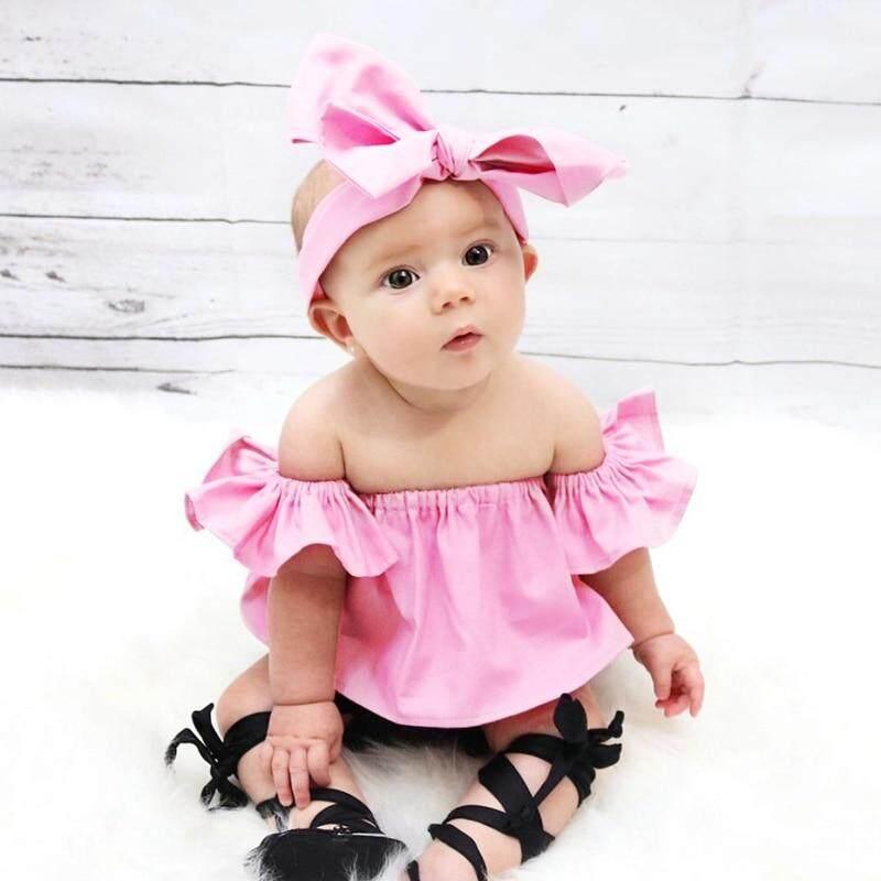Girl Summer Blouse Toddler Baby Girls Sweetshirt Ruffle Off Shoulder Kids Little Girl Shirt Baby 0-2t By Hongming.