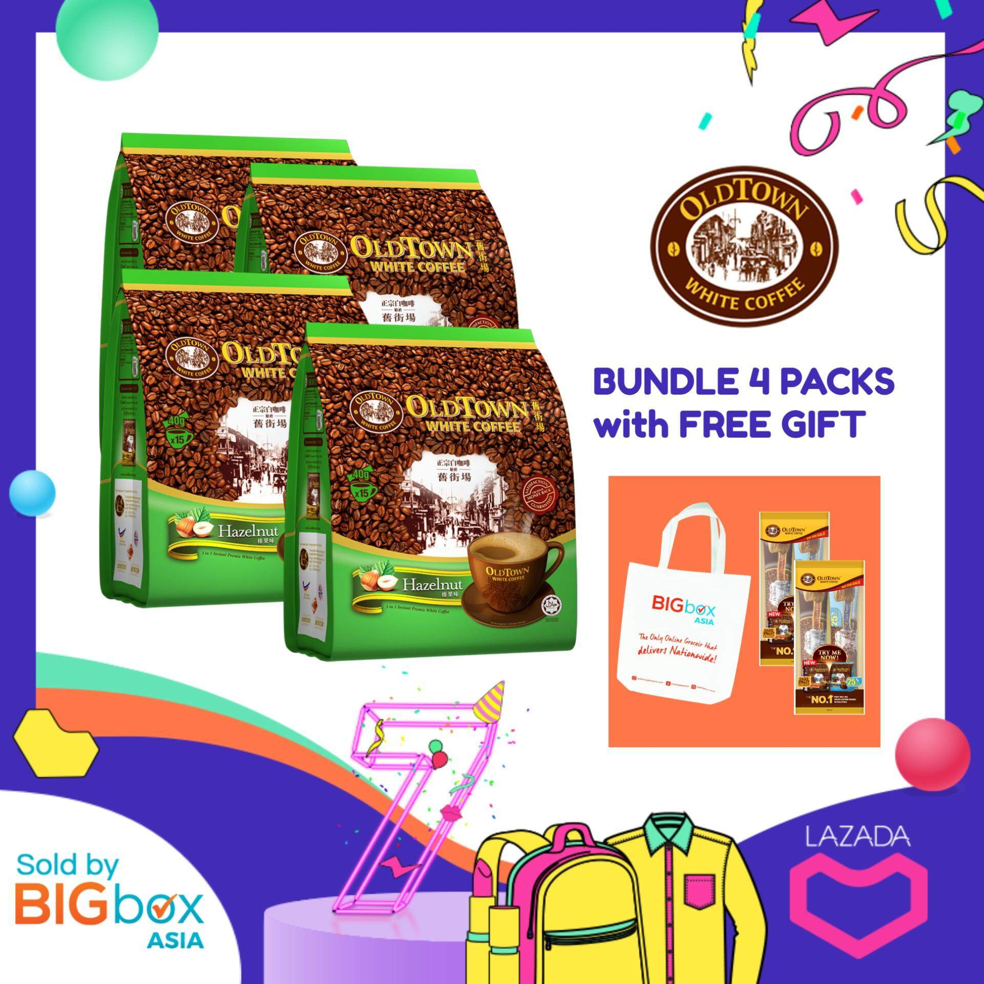 Oldtown White Coffee 3in1 Hazelnut 38g X 15sticks [bundle Of 4 With Free Gift] By Bigbox Asia.