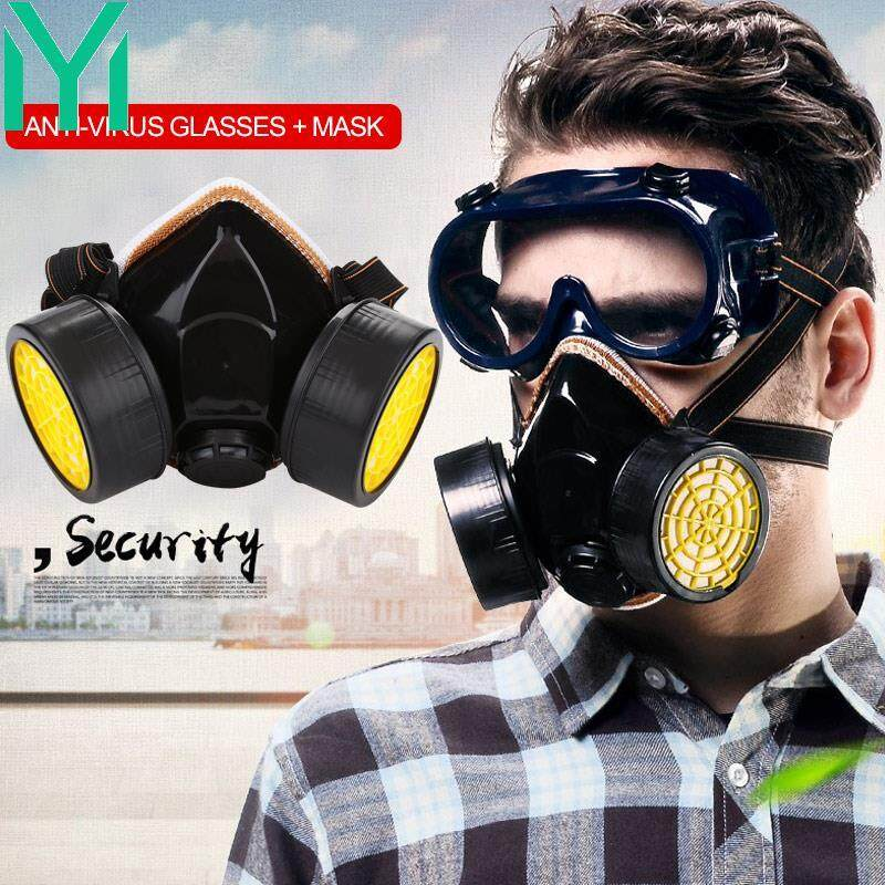 Full Face Respirator Gas Mask Dustproof Masks Respirator + Glasses A Set Pesticide Filter Respirator Mask Protective Durable Chemical