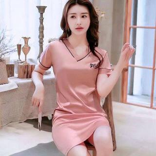 IHOME Cuộc Sống Áo Choàng Tắm, Silk Nữ Đồ Ngủ Trên Bán Váy Ngủ Spa Ngắn Tay Dáng Rộng Tại Nhà Thường Ngày Hợp Thời Trang VÁY ĐẦM Hàn Quốc Ngoại Cỡ Mềm Mại Màu Trơn Thời Trang Gợi Cảm 2021 Mới thumbnail