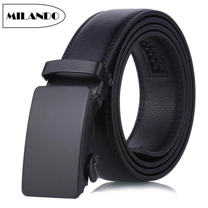 84bec04800 MILANDO Men Formal PU Leather Automatic Buckle Belt 3.5cm Width 110cm  Length (Type 11